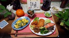 揚げ物+魚+オムライス