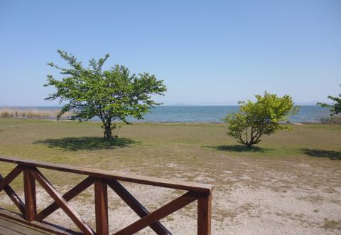 コテージから見た琵琶湖