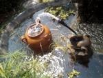 噴水ゾウさん、水甕に穴を開けました。