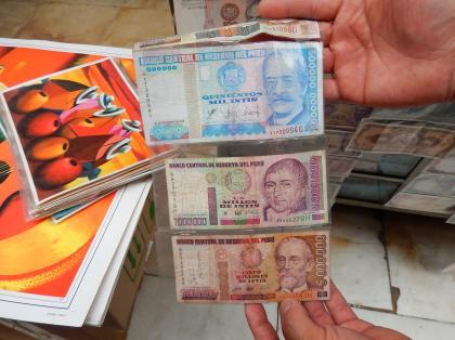 ペルー2014.1リマ・リマ中央郵便電報局(インフレ紙幣)