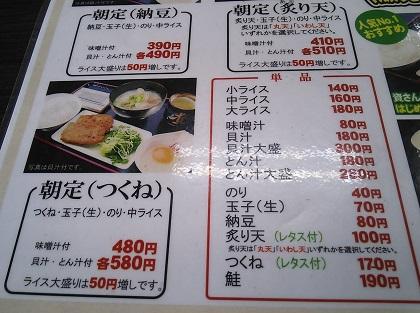資さん 朝定食(つくね)メニュー・価格