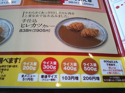 CoCo壱番屋 ヒレカツカレーメニュー905円
