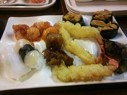 雲仙みかどホテル 夕食 海老チリ・寿司001