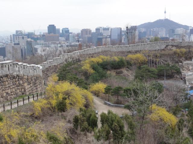 2013年4月8日 仁王山 城郭とソウルタワーを臨む