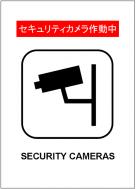 セキュリティカメラ作動中の貼紙テンプレート・フォーマット・雛形
