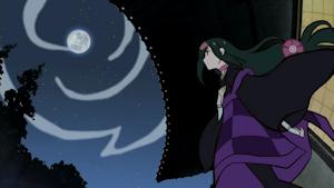 月を見上げる七実