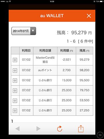 au WALLET アプリ画面10 内訳
