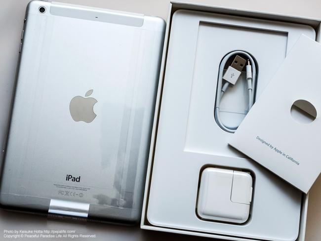 iPad mini Retina Wi-Fi + Cellularモデルと付属品
