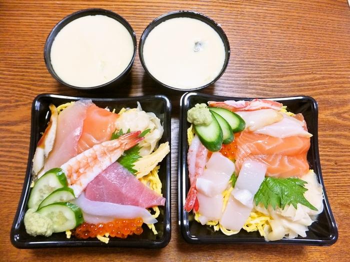 銀のさらの北海丼と茶碗蒸し
