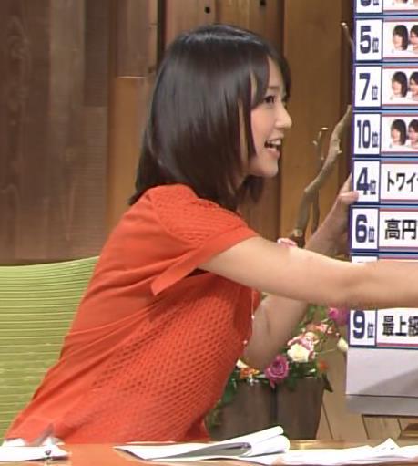 竹内由恵 オレンジのワンピースキャプ画像(エロ・アイコラ画像)