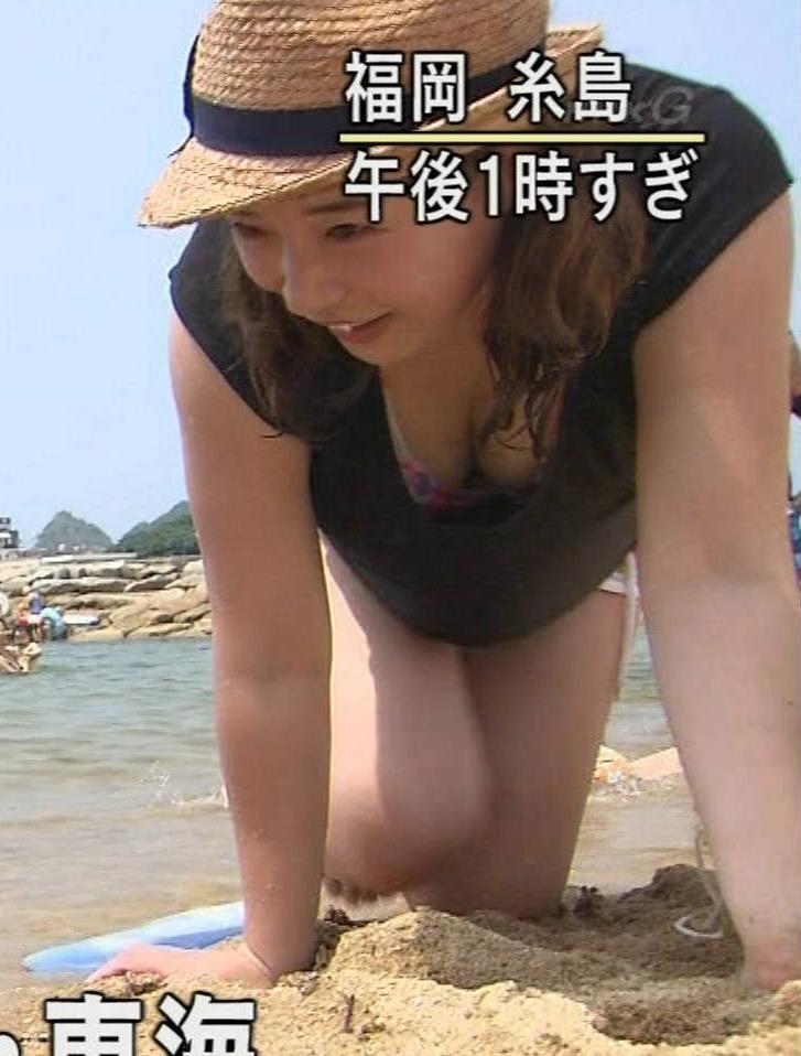 海水浴場 前かがみ巨乳ちらキャプ画像(エロ・アイコラ画像)