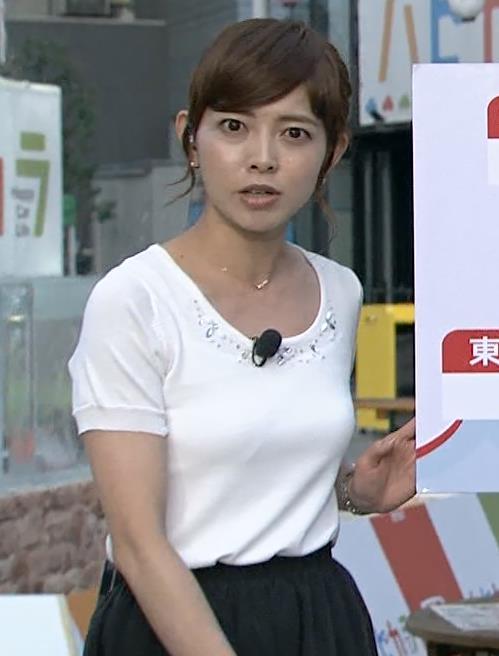 尾崎朋美 「あさチャン!」のお天気お姉さんのおっぱいキャプ画像(エロ・アイコラ画像)